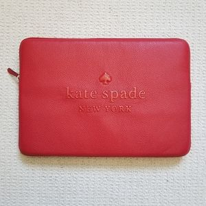 Kate Spade red leather laptop case nwt!!